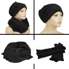 Mütze Schal Stulpen Set schwarz Swea