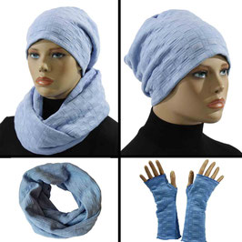 Damen Mütze Schal Stulpen Set Jersey hellblau Julia
