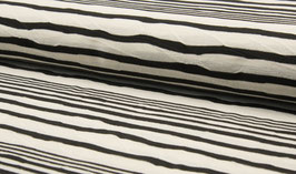 Jerseystoff Jaquard STRIBE schwarz-weiss