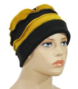 Fleece Mütze Bändchen schwarz senfgelb Palina