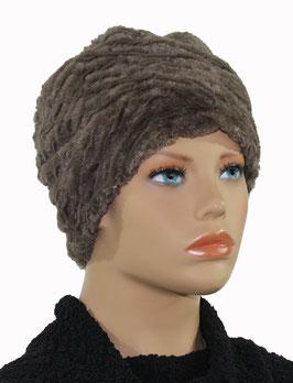 Damen Mütze Beanie Mütze Fellmütze taupe