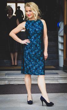 Vintage original Etui Kleid 50er blaugrün Brokat