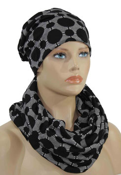 Mütze Schal Set schwarz weiß Lina