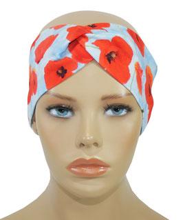 Turban Stirnband Haarband Mohnblume
