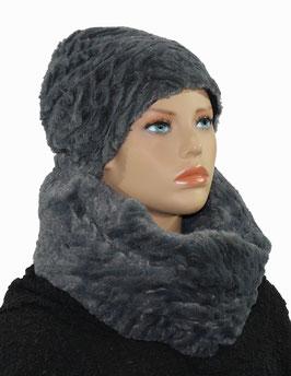Damen Beanie Mütze Loop Schal Set Kunstfell grau