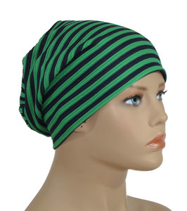 Damen Beanie Mütze blau grün Streifen Nane