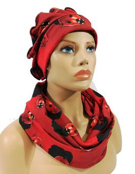 Mütze Schal Set rot schwarz Marini