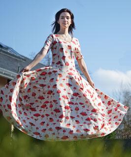 Damen Ballonkleid Maxikleid Jerseykleid mit Mundschutz Pilz
