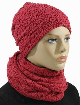 Damen Set Beanie Mütze Loopschal rot Anna