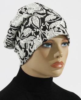 Damen Beanie Mütze schwarz weiß Lolita