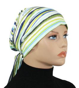 Chemo Mütze Turban Mütze Streifen blaugrün Erika