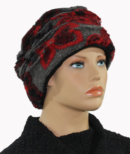 Damenmütze Wollmütze Hut Walkmütze rot grau Blume