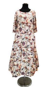 Ballonkleid Maxikleid Jerseykleid Vintagedruck altrosa