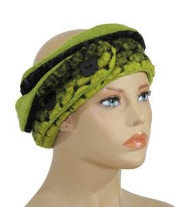 Wollstirnband schwarz grün Vada