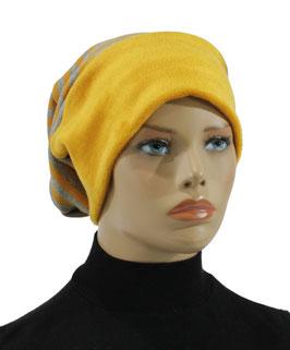 Beanie Mütze Wintermütze gelb grau gestreift Sara