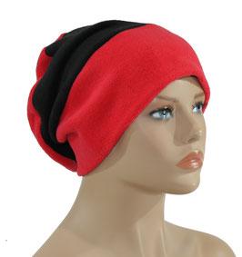 Chemo Beanie Fleece Mütze rot - schwarz Felie