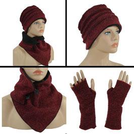Mütze Schal Set rot melange Liane