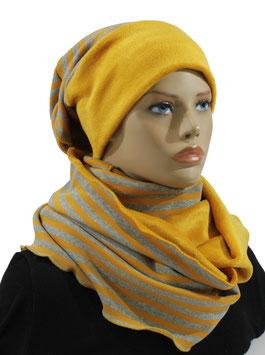 Mütze Schal Stulpen Set gelb grau gestreift Sara