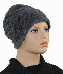 Damenmütze Beanie Mütze Wintermütze Kunstfell grau