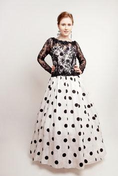 True  Vintage Hochzeitskleid Tupfen schwarz weiß Seide