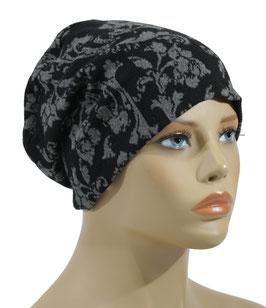 Beanie Mütze Jacquard schwarz grau Bella