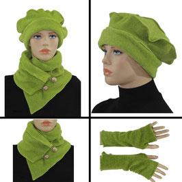 Fleece Mütze Schal Stulpen Set grün Pina