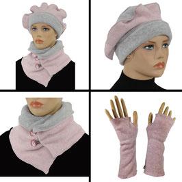 Damen Mütze Schal Stulpen 3er Set grau rosa Fleece Luca