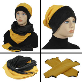 Mütze Schal Stulpen Set gelb-schwarz Samira