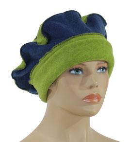 Damen Fleece Mütze Barett Ballonmütze grün blau Valerie