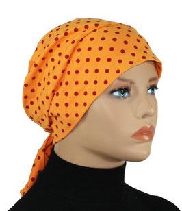 Chemomütze Turbanmütze Tupfen orange Luise
