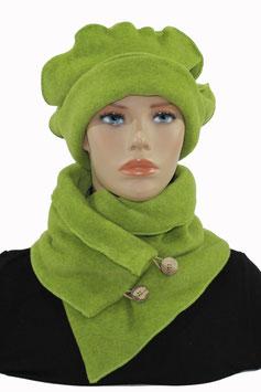 Fleece Mütze Schal Set grün Pina