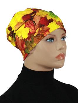 Damen Beanie Mütze Stoffmütze Herbstlaub