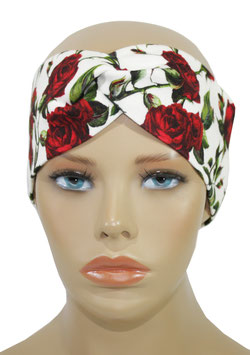 Turban Stirnband Haarband rote Rose