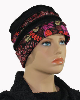 Damenmütze Walkmütze bunt - schwarz Minna