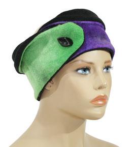 Stirnband Wolle batik grün lila Berit