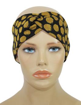 Turban Stirnband Jersey Tupfen schwarz gold Aline