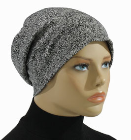 Damen Beanie Mütze Chemo Mütze Pfeffer -Salz Look Pepper