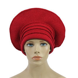 Damen Ballonmütze Baske Lagenlook Mütze rot