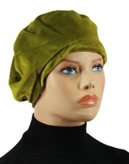 Damenbaske Ballonmütze Samt moosgrün