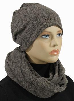 Damen Jersey Set Mütze Loop Schal taupe Rita