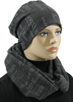 Mütze Schal Set Jersey grau Beate