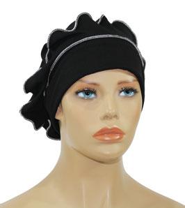 Lagenlook Basken Ballon Mütze schwarz weiß Reina