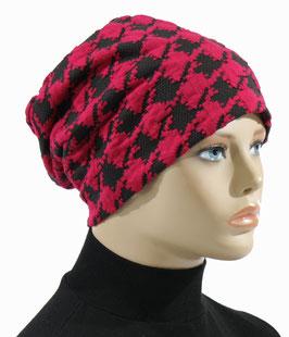 Damen Beanie Mütze Jerseymütze Hahnentritt pink/schwarz Simone