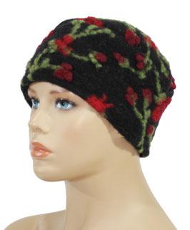 Walkmütze Kappe schwarz Blumenranke Mali
