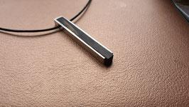 pendentif, collier bois / argent pour homme, design moderne,  unique et fait main