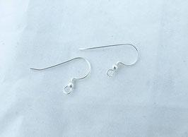 Crochets long avec perle ronde pour boucle d'oreille en argent massif