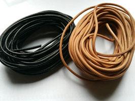 Liens cuir rond 3 mm de diamètre - NOIR
