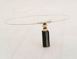 "Collier ""pagode chinoise"" RAKU /EBENE , perles ceramiques rakus, bois precieux et argent massif"