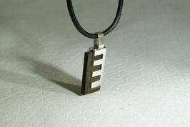 """Pendentif homme tendance argent et bois, """"echelle"""",façon bijoux acier, elegant et simple"""