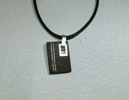 pendentif bois / argent unique homme, trou carré serti, tendance et original, argent massif, fait main